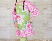 Olive Rose Peasant Dress/Top - Available In Custom Sizes 6M/12M 18M/2T 3T/4T 5/6 7/8