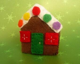 Gingerbread House Felt Pin