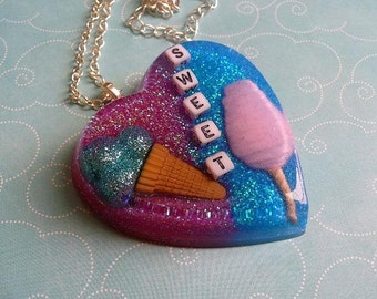 Sweet Treat Huge Resin Heart Necklace