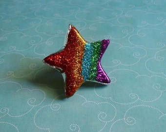 Huge Glitter Rainbow Resin Star Ring or Necklace