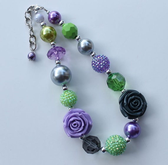 Double Rose Purple, green & Gray chunky necklace