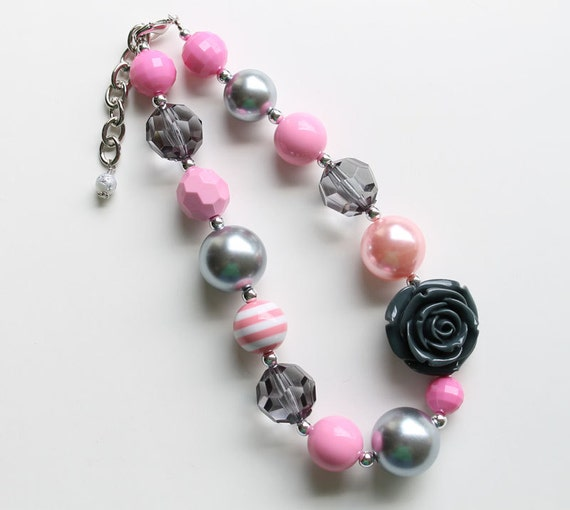 Pink & Grey Chunky Necklace for girls