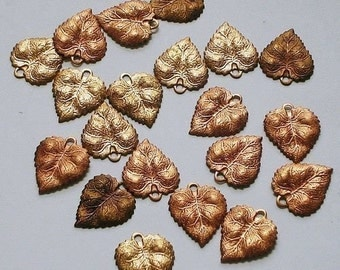 24 Vintage Raw Brass Leaves Findings 20X15 mm