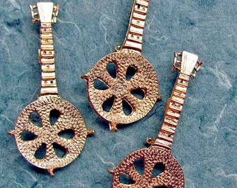Jewelrama Gold Mandolin Banjo Brooch Pin Findings