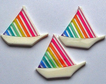 Vintage 60's Rainbow Lucite Findings Sailboats
