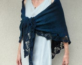 N E W - Hand knitted triangular shawl with crocheted lace trim in Petrol Blue