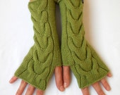 FREE SHIPPING - Hand knitted Merino blend fingerless gloves with CABLE knit pattern in Olive