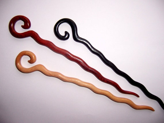 Extra long WIGGLE handcrafted WOODEN shawl pin / hair stick - 3 types of wood to choose from