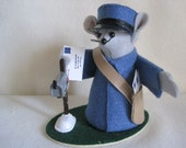 Felt Mouse Dressed as a Mailman with  a Mailbox