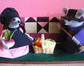 Felt Mice Dressed as Amish Selling Quilts and Vegtables