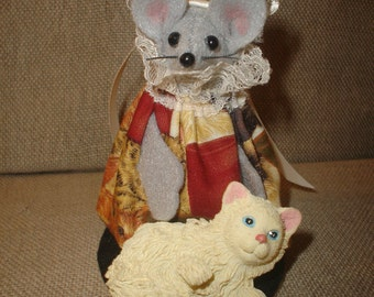 Mouse with her Pet Cat. NEW LOWER PRICE