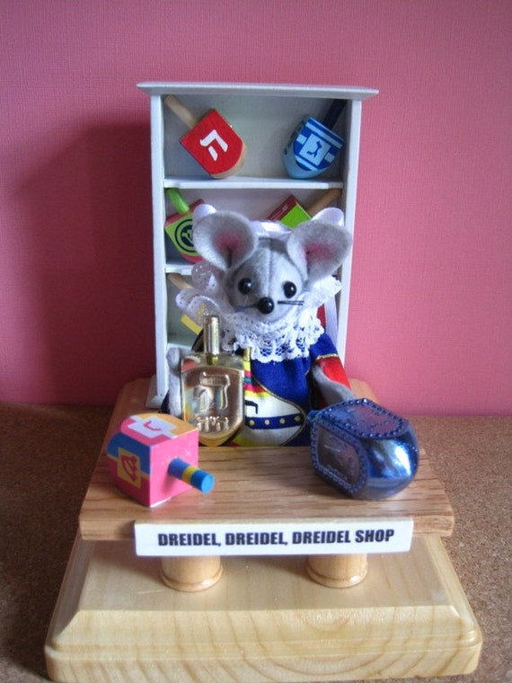 Felt Mouse in a Dreidel Shop for Hanukkah
