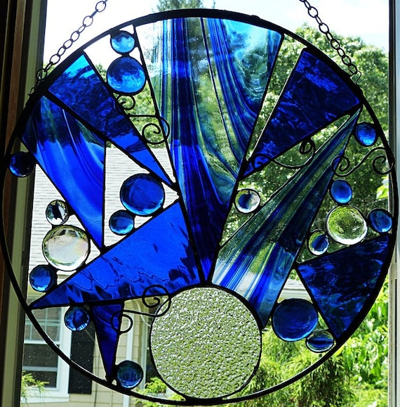 The Blues Stained Glass Art Panel