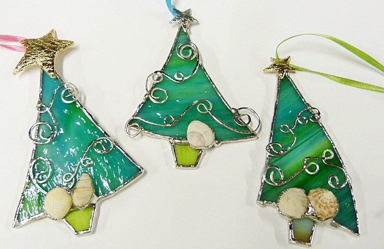 Whimsical stained glass beachy christmas trees ornaments