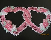 New Crocheted Double Heart Doily Pink Cottage Style Victorian