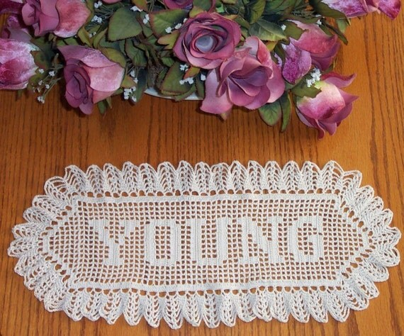 Crochet  Name Doily Unlimited Letters Great Wedding Gift Free Shipping Heirloom Made in the USA