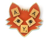 Orange Scrabble Fox Brooch