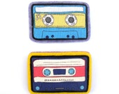 Two cassette tape brooches- blue/yellow/pink