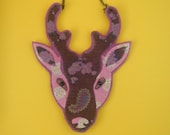 SALE Pink and Brown Stag's Head Necklace