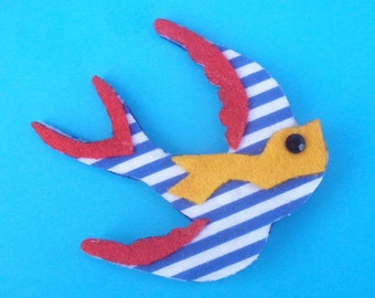 Red, Blue and Yellow Swallow Brooch