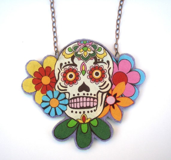 Red, orange and green sugar skull necklace