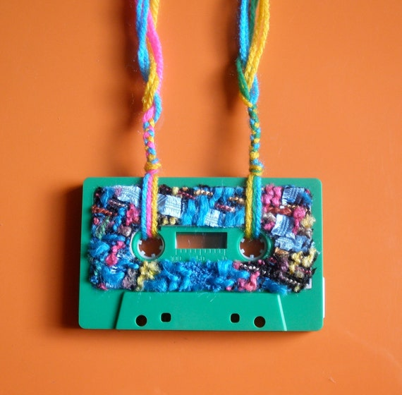 Cassette Tape Necklace Green/Pink/Blue