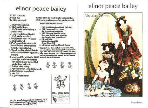 """DOLL PATTERN - """"Victorian Doll"""" by Elinor Peace Bailey"""