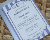 Vintage Wedding Invitations - vintage, french stripe with a classic frame, boutique invitation-