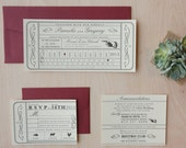 Vintage Ticket Wedding Invitation - Punch Card, Vintage Train Ticket, Travel, Destination Wedding Invitation DEPOSIT