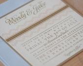 Lace Wedding Invitation, Shabby Chic, Rustic Vintage Elegance, Vintage Invitation, Fairytale, Whimsical invitation SAMPLE
