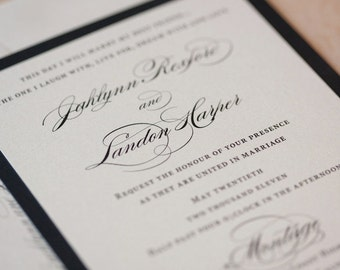 Elegant Wedding invitation, Classic Invitation, Romantic wedding invitation, Traditional Invitation - SAMPLE