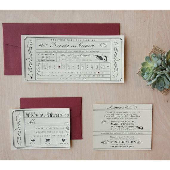 Vintage Ticket Wedding Invitation - Punch Card, Train Ticket Invite, Destination Wedding Invitation SAMPLE