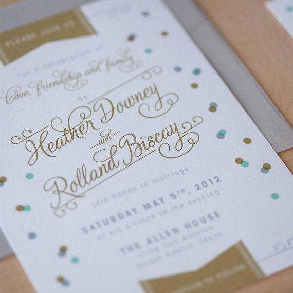 Confetti wedding invitation vintage modern modern like this item stopboris Images