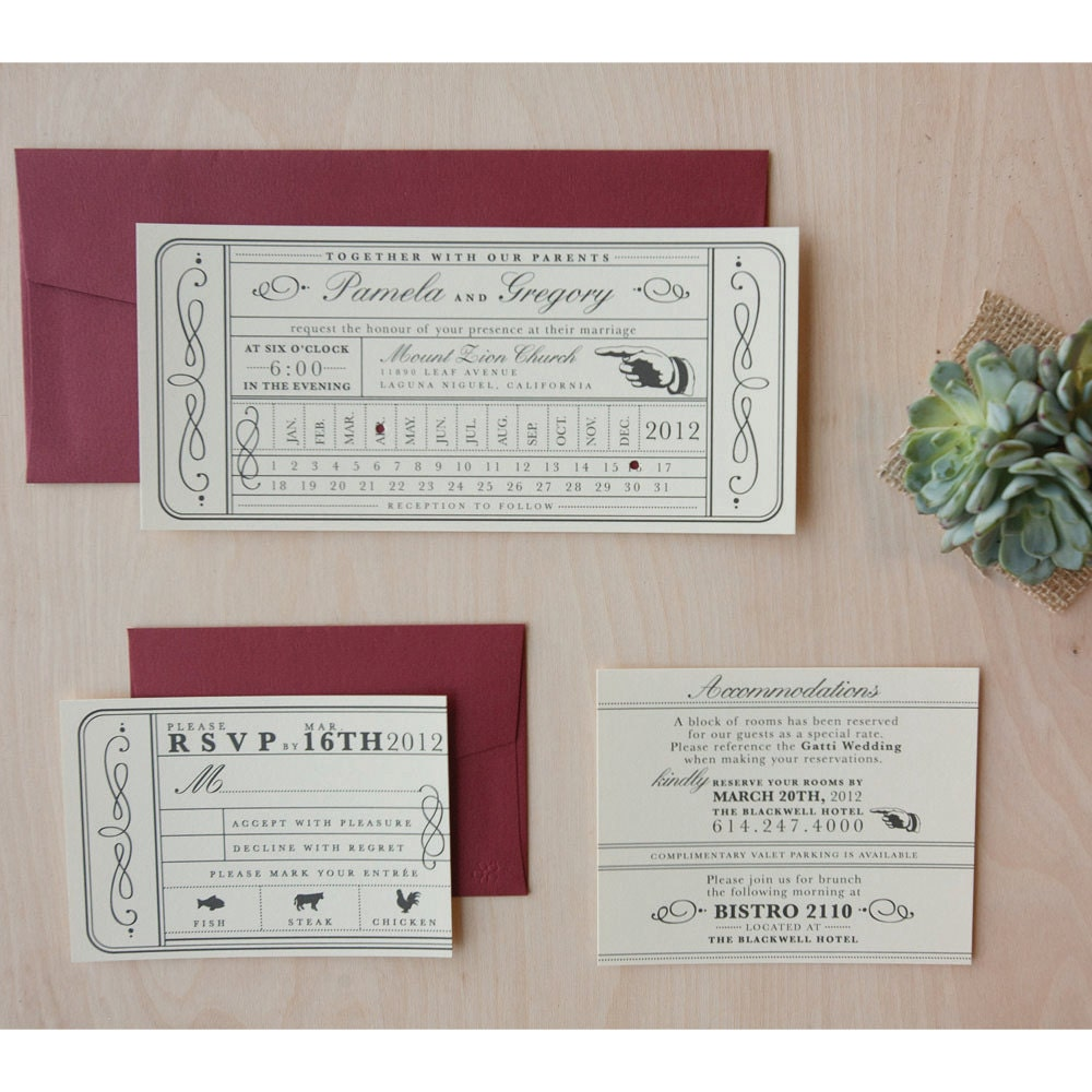 Vintage Ticket Wedding Invitation Punch Card Train Ticket – Ticket Invitation Maker