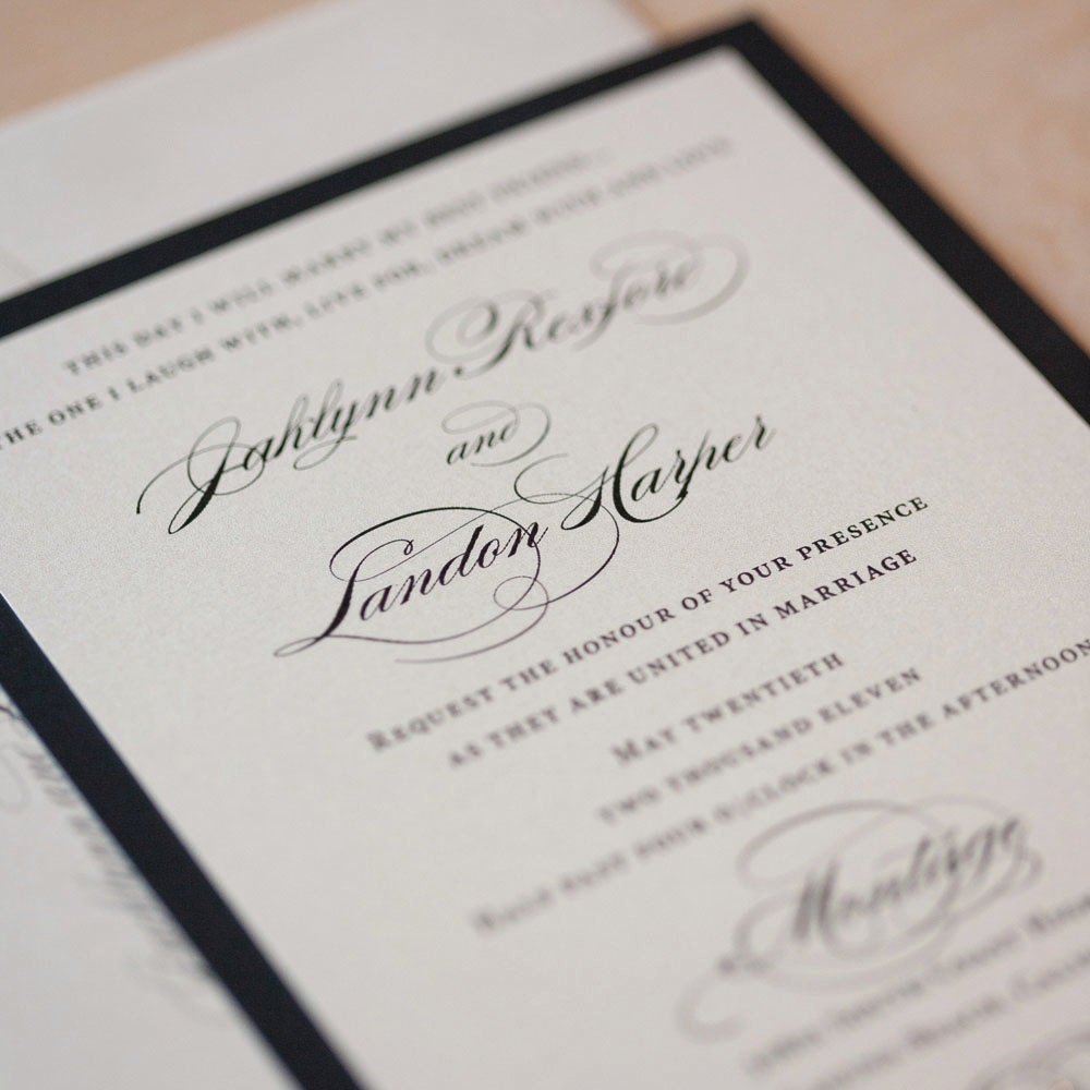 Elegant Wedding Invitation Script On Pearlescent Paper With Rhinestone