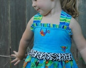 OOAK - Boutique Girls Dress - Jungle Fever - ButterfliKisses - sizes 3 and 4