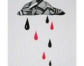 Patterned Cloud and Raindrops 1 - Original ink illustration by Natasha Newton