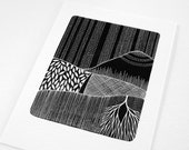 original monochrome watercolor painting on paper // black and white // patterned landscape 2 by natasha newton