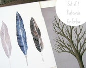 RESERVED for Erika // 4 fine art postcards // birds trees feathers // by natasha newton