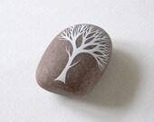 handpainted beach pebble . winter tree . nature inspired art objects by natasha newton
