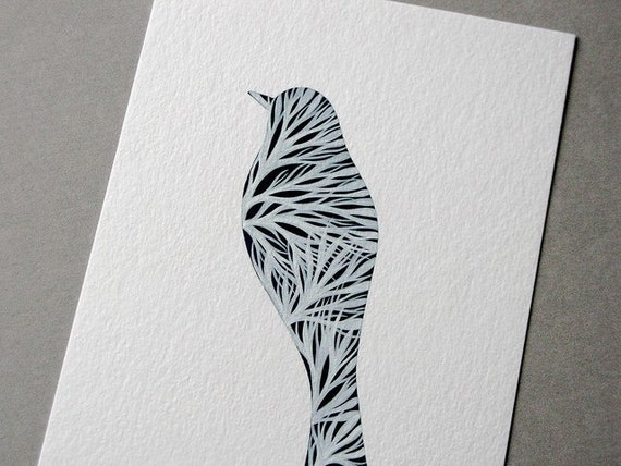 Silhouette of a Bird with Branches 1 - Original painting on paper by Natasha Newton