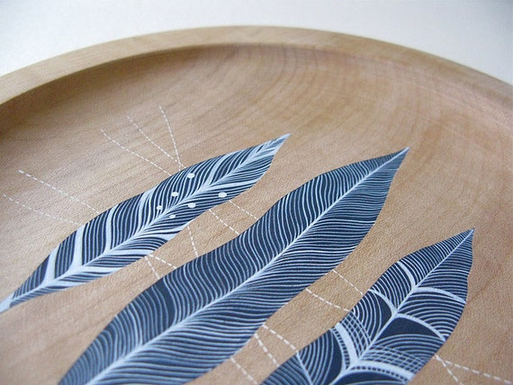 patterned feathers // handpainted design on a sycamore wood plate for UK homes and gardens magazine // by natasha newton