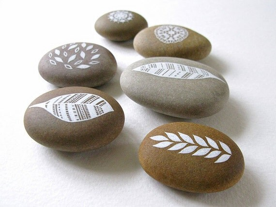 as seen in homes and gardens magazine . collection of six handpainted beach pebbles . nature set 8 . by natasha newton