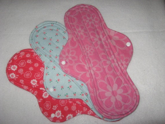 """Cloth menstrual pads set of three 12"""" in assorted prints"""