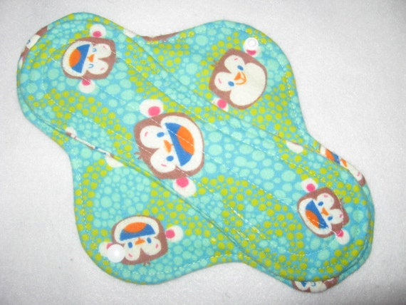 Cloth menstrual pad 10 inch with monkeys