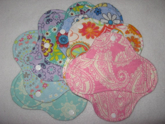 "Cloth pantyliners 6"" set of seven"