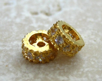 24K Gold Vermeil Petite Rondelle Beads set with Clear Crystals 5.5mm - 2 pcs