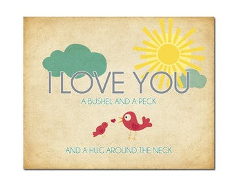 8x10 I Love You a Bushel and a Peck - Digital Art Printable (.JPG 300DPI to Print On Your Own) - Instant Download