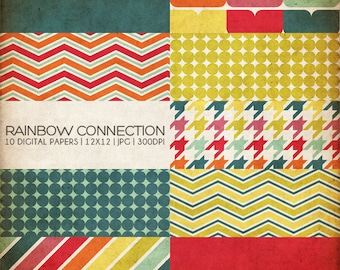 12x12 Digital Papers - Rainbow Connection Collection - Great for Scrapbooking or Photographers - 10 Papers - PX8011 - Instant Download!