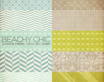 12x12 Digital Paper Collection - Beachy Chic - Great for Scrapbooking or Photographers - 10 .JPG Files (300dpi) - PX8001 - Instant Download!